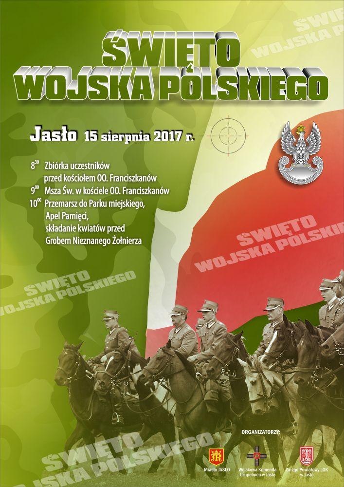 8f011079e5913 JASŁO / PODKARPACIE . 15. sierpnia w Jaśle odbędą się obchody Święta Wojska  Polskiego. Szczegółowy plan wydarzenia umieszczony na plakacie.